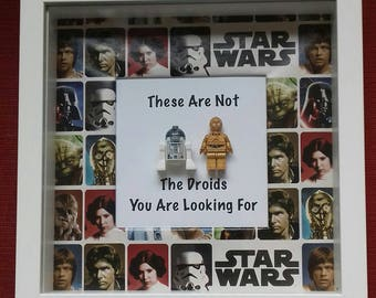 Star Wars R2D2 and C3-PO frame these are not the droids you are looking for Star Wars DROID mini figure gift frame