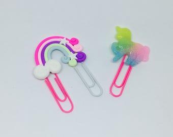 Planner clips unicorn rainbows