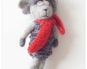 Sheep - beautiful poetic plush we felted wool with a red scarf/stuffed sheep - beautiful poetic plush wool felted with a red scarf