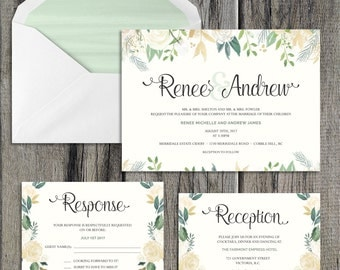 Printable Floral Watercolour Wedding Invitation Template with Response (RSVP) and Reception Cards