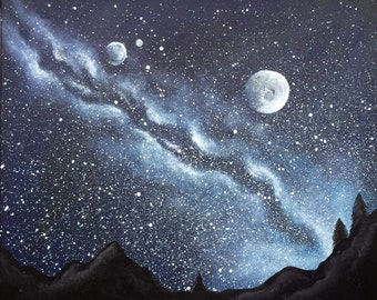 Original Hand Painted Bespoke Galaxy/Space Canvas Painting - Moonlit Sky