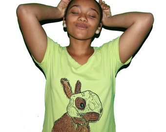 Womens Medium Green Bunny with a Skull Shirt