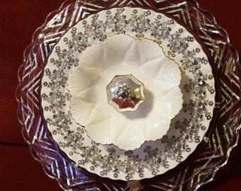 Silver Anniversary Glass Plate Flower