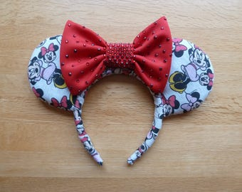 Pink dress Minnie Mouse Ears with red rhinestone bow