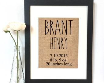 Baby Stats Birth Announcement Burlap Print // Personalized Baby Birthdate // Custom Baby Gift // Nursery Decor // Wall Art