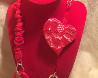 Red lace Heart Necklace