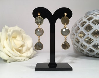 Exclusive handmade gemstone earrings with Labradorite, sterling silver (925) 22 k gold plated.