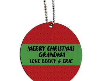 Merry Christmas Red Green Personalized Round Wood Id Tag Luggage Card Suitcase