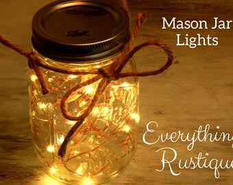 Mason Jar Centerpieces Mason Jar Fairy Lights Wedding Centerpieces Mason jar  Mason Jar Hanging Lights mason Jar Favors Micro Led Lights