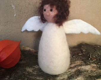 Angel hand felted felt figure mobile organic Merino Wool