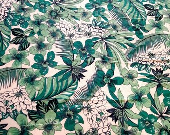 "60"" width, slight stretched, soft, thin, KNIT polyester cotton, Hawaiian print, t-shirting, green, flowers,  tropical flowers, exotic flower"