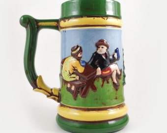 Vintage German beer stein, mountain men, bearded lumberjacks artwork, no lid beer stein, Oktoberfest mug, German beer mug, gifts for men