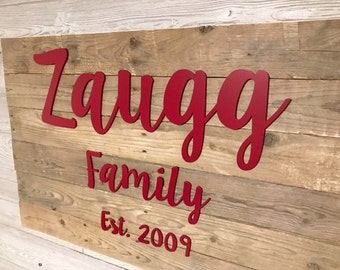 Rustic Family Name Sign- Reclaimed Wood - Personalized Wedding Gift- Large Custom Sign - 3D sign- Wooden Cutout Letters