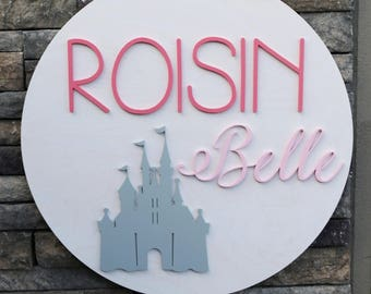 24 inch Round Custom Name Sign With Princess Castle - Custom Nursery Decor - Perfect Personalized Gift - Princess Name Sign - 3D Castle Sign