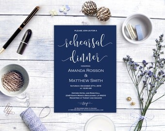Navy Blue Wedding Printable -  Navy - Editable Text -  Rehearsal Invitation - Printable Rehearsal -  Downloadable wedding #WDH0156