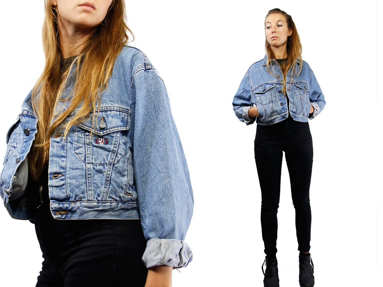 Cropped Denim Jacket / Vintage Jean Jacket / Jean Jacket Women ...