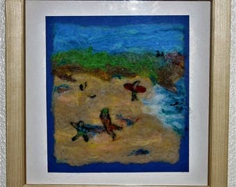 Beach Fun - framed needle felted picture