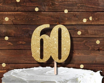 60th Birthday topper, Number 60 cake topper, Glitter Cake Topper, Sixty topper, birthday cake topper, cotton candy co