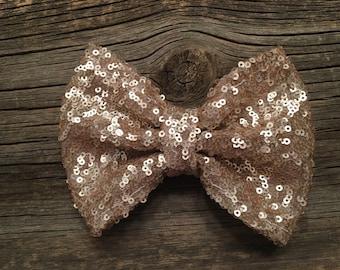 Gold sequin bow - big bow- sparkly bow - christmas bow - hair bow