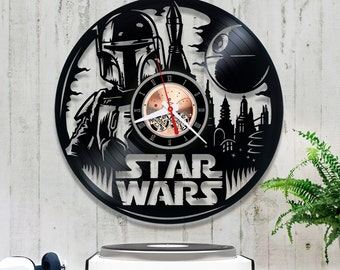 Vinyl Clock Star Wars| Boba Fett Record Clock| Star Wars Lover Gift| Wall Clock 1/6/6| Star Wars Decor| Lp Clock| Birthday Gift