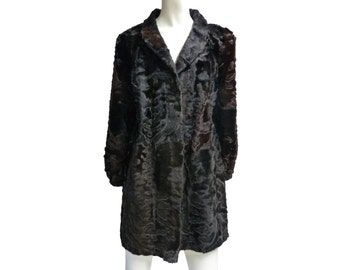 FUR Coat Vintage Karakul breitschwanz black dark  svakara persian lamb brown sz M great cond