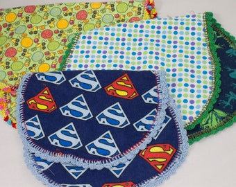 Set of 3 Baby Burp Cloths, baby clean-up rags