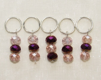 SALE Pink And Purple Beaded Stitch Markers Set of 5