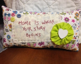 Hand embroidered pillow, Home pillow