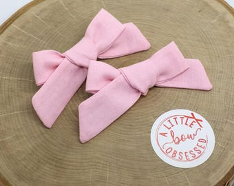 Light Pink Cotton Schoolgirl Hair Bow, Single Bow or Pigtail Set, Girls Hair Bows, Solid Hair Bow