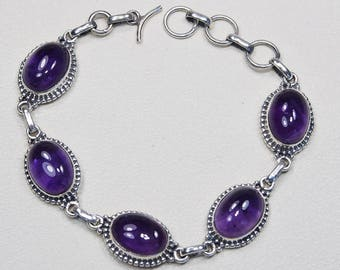 Silver amethyst bracelet, Adjusts from 6.5 to 7.5 inches,February birthstone, 925 sterling silver Amethyst gemstone bracelet, S942