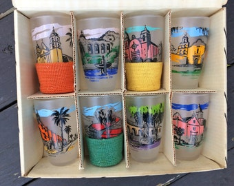 Mid-Century LIbbey Frosted California Mission Tumblers Set of 8 - LIFE Magazine