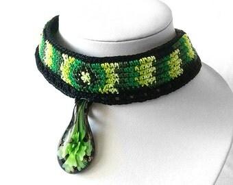 Crochet Choker with Glass Pendant