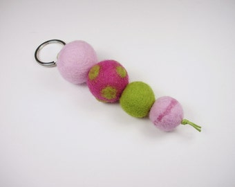 Felted keychains, pink pink light green, colorful felt beads