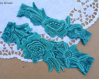 Teal Green Garter, Wedding Garter, Teal Wedding Garter, Teal Garter Set, Teal Green Wedding, Wedding Garter Teal, Garters, Teal Lace Garter