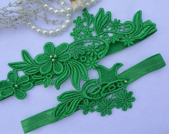 Garter For Wedding, Bridal Garter, Wedding Garter, Garter Set, Green Garter Belt, Unique Bridal Garter, Bridal Garter Set, Green Garter Set