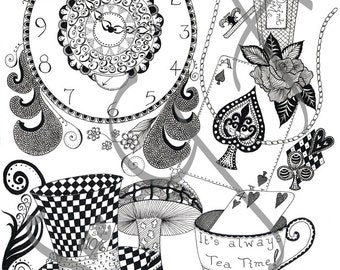 Wonderland Zentangle Art Print
