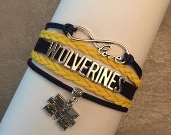 Michigan Wolverines Infinity Love Bracelet