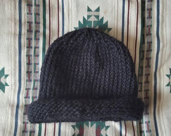 Reserved for Sean*** Custom knit black roll brim hat