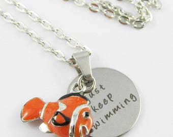 Just Keep Swimming Message & Clown Fish Charm Necklace 45cm Silver Tone Chain
