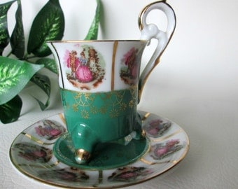 Vintage Demitasse Cup and Saucer, Green Footed Demi Cup with Matching Saucer, Elizabethan Couple, Goldtone Accents, Tiny Teacup and Saucer