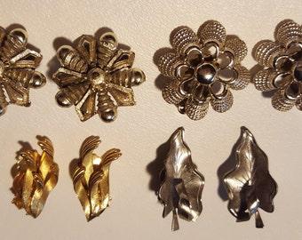 4 Pairs Clip On Metal Earrings
