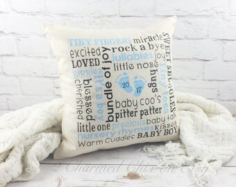 Baby Pillow/Baby Shower Pillow/Subway Style Pillow//Baby Boy Pillow/Baby Boy Gift/Pillow Gift/Foot Print/Foot Print Pillow/Baby Foot Print