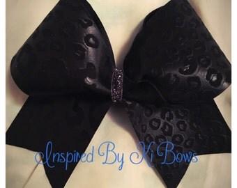 Black cheetah print cheer bow