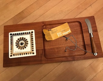 Vintage Georges Briard Woodland Teak Tray with Tile insert and New With Tag Cheese Knife Gold and Black tile