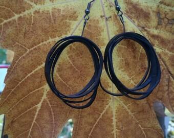"""Bike tire """"belt"""" earrings"""