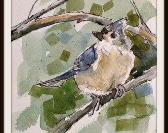 4 x 6 Grey Titmouse Print, Grey Titmouse Painting, Grey Titmouse No. 1, Pen & Wash Watercolor Titmouse,  Brande Arno Painting, Bird Painting