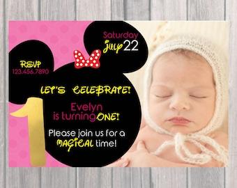 Minnie Mouse Birthday Party Invite, Custom Birthday Invite with Photo