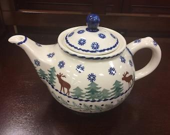 Jankiewicz Bolesławiec Genuine Polish Pottery Christmas Tree Reindeer Moose Handmade Teapot