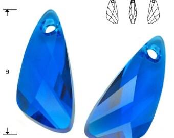 Swarovski Elements, 6690, Wing, Capri Blue, 23mm, Swarovski Wing, Swarovski crystal, Blue crystal, dark blue crystal
