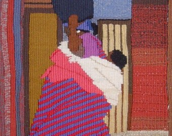How to carry baby and your shopping! Print of a tapestry, 270 x 401 mm